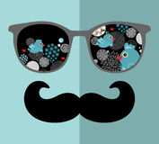Retro sunglasses with reflection for hipster. Royalty Free Stock Photo