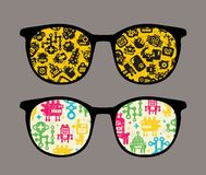 Retro sunglasses with robot pattern reflection. Retro sunglasses with robot pattern reflection in it. Vector illustration of accessory - eyeglasses isolated Stock Photography