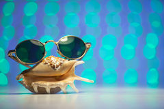 Retro sunglasses with shell and blurry shiny colored background. Retro sunglasses with shell and blurry colored background Stock Photos