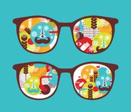 Retro sunglasses with spring reflection in it. Stock Photography