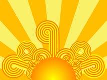 Retro sunrise. Funky retro sunrise in bright yellow and orange Stock Images