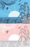 Retro sunrise illustration Royalty Free Stock Photography