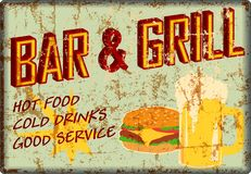 Retro super grungy old bar and grill diner sign, american vintage style vector. Illustration royalty free illustration