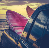 Retro Surf Boards In Truck Royalty Free Stock Photo