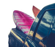 Retro  Surf Boards In Truck Royalty Free Stock Photos