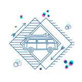 Retro summer car with surfboard flat line art icon Stock Photography