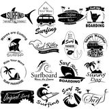 Retro Surfing and sea beach vacation elements and icon set Stock Photo