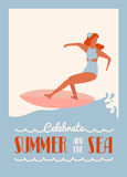 Retro surfing summer poster Stock Photos