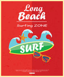 Retro surfing typographical poster with place for Royalty Free Stock Photo