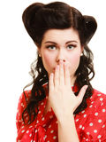 Retro. Surprised pinup girl covering mouth Royalty Free Stock Photos