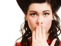 Retro. Surprised pinup girl covering mouth Stock Photos