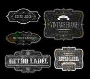 Retro svart för etiketter 02 Royaltyfri Fotografi