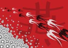 Retro Swallows su colore rosso royalty illustrazione gratis