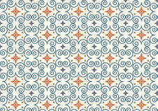 Retro Swirl and Flower Pattern on Pastel Color Stock Photo