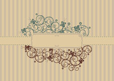Retro swirls and butterflies card Stock Photo