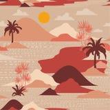 Retro sylwetka drzewko palmowe, plaża, góra na nowożytnym papieru cięciu ilustracji