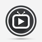 Retro symbol för TVfunktionslägetecken Fastställt symbol för television royaltyfri illustrationer