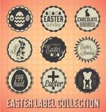 Retro Szczęśliwe wielkanocy etykietki, ikony i Obrazy Stock