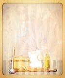 Retro töm den pappers- bakgrunden med handen drog grafiska illustrationen av en kitchenware Arkivbilder