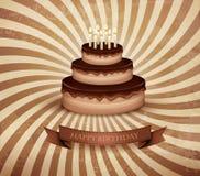 Retro tło z urodzinowym czekoladowym tortem Obrazy Stock