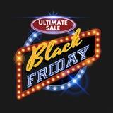 Retro tabellone per le affissioni di Black Friday Illustrazione di Stock