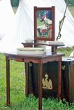 Retro table at Borodino battle historical reenactment in Russia Stock Photo