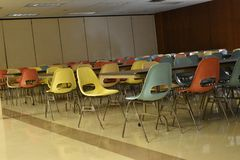 Retro table and chairs in a cafeteria in a school stock image