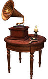Retro table with a gramophone. 3D render of a retro table with a gramophone, mirror, and candle royalty free illustration