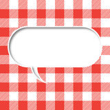 Retro tablecloth texture speech bubble Stock Photo