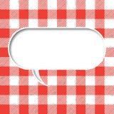 Retro tablecloth texture speech bubble Stock Photo