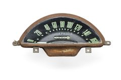 Retro tachometer of a vintage car. Isolated on white background Royalty Free Stock Image