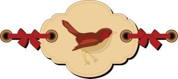 Retro tag with bird Stock Image