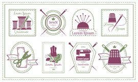 Retro Tailor Labels or Needleworks Emblems Royalty Free Stock Photo