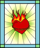 Heart on fire (retro /passion). This heart is on fire (symbol of the Holy Spirit) and there are thorns around it (symbolizes the suffering of Jesus to protect Stock Photos