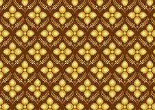 Retro Tajlandzki kwiatu wzór na Brown tle Obrazy Stock