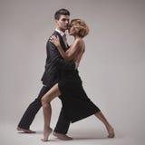 Retro tango ben vestito di dancing delle coppie immagine stock
