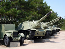 Retro tanks, guns and armored vehicles Stock Photo
