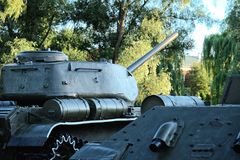 Retro tanks among trees Stock Images