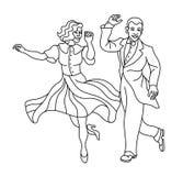 Retro- Tanzpaarschattenbild Weinleseschattenbildtänzer Charleston-Parteitanz-Weinleseleute lokalisiert auf Weiß vektor abbildung