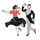 Retro- Tanzpaarschattenbild Weinleseschattenbildtänzer Charleston-Parteitanz-Weinleseleute lokalisiert auf weißem Hintergrund vektor abbildung