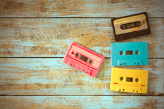 Retro tape cassette on wood table stock photography