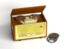 Retro tape recorder. The three-dimensional image of a retro of the tape recorder and spare spools on a white background Royalty Free Stock Image