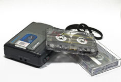 Retro tape recorder and Cassette Tapes Royalty Free Stock Photography