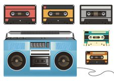 Retro tape-recorder and cassettes Stock Images