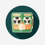 Retro tape recorder flat round icon with long shadows. Colorful detailed and realistic flat design icon with long shadows Stock Images
