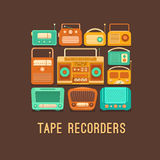 Retro tape recorders and radios Royalty Free Stock Photo