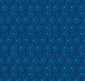 retro tapeta Abstrakcjonistyczny bezszwowy geometryczny wzór z okręgami na błękicie obraz stock