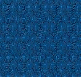 Retro- Tapete Abstraktes nahtloses geometrisches Muster mit Kreisen auf Blau stockbild