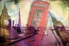 Retro tappning för illustration för London konstdesign Arkivfoto