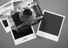 Retro tappning fyra kort för ögonblickfotoramar på grå bakgrund med bilder av naturen och mellanrumsfotoet med den gamla kameran Royaltyfri Foto